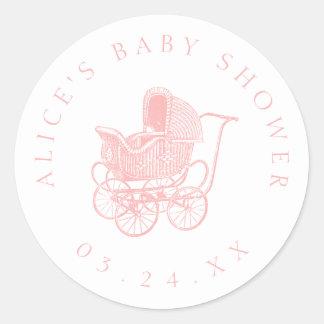 Het vintage Roze Baby shower van het Vervoer van Ronde Sticker