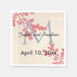 Het vintage Roze Bloemen, Botanische Monogram van Papieren Servetten