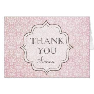 Het vintage Roze Damast dankt u Wenskaart