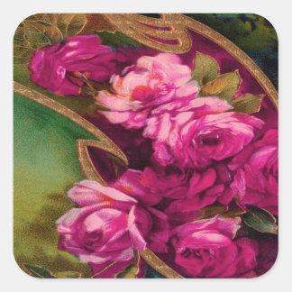Het vintage Roze Gouden Scherpen van Rozen Vierkante Sticker