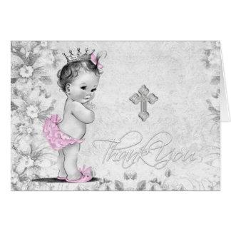 Het vintage Roze Grijze Doopsel van het Meisje Briefkaarten 0