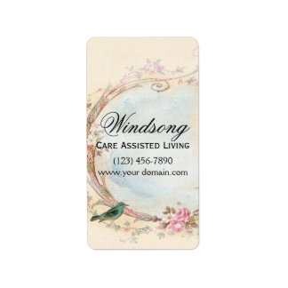 Het vintage Roze nam en Robin Wedding Business toe Addressticker