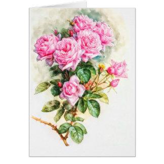 Het vintage Roze nam het schilderen Herstelde Kaart