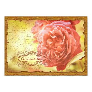 Het vintage Roze van het Koraal nam Versierd Lijst Kaart