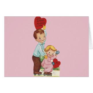 Het vintage Schaatsen Valentijn van de Rol Wenskaart