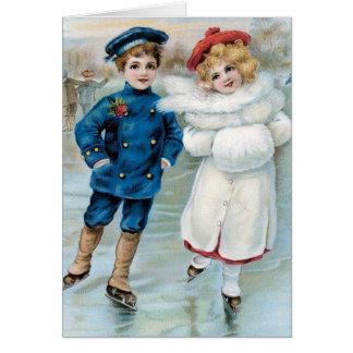 Het vintage Schaatsen van het Ijs van de Kinderen Wenskaart
