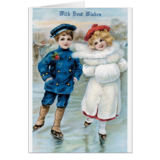 Het Vintage Schaatsen van het Ijs van het Meisje Briefkaarten 0