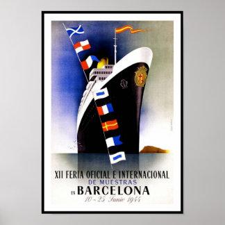 Het vintage Schip van Barcelona Spanje van de Druk Poster