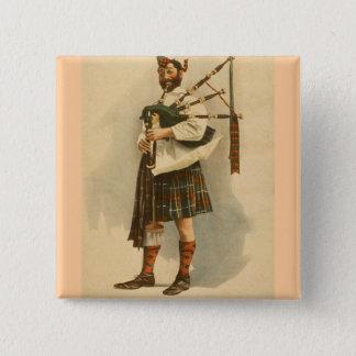 Het vintage Schotse Man van de Kilt van de Speler Vierkante Button 5,1 Cm