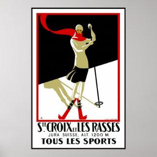 Het vintage Ski?en van Ste Croix van de Druk van Poster