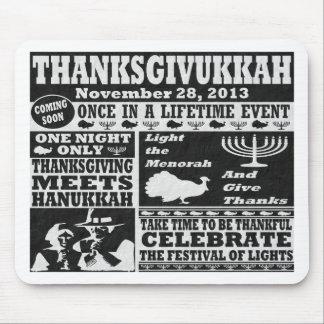 Het vintage Stootkussen van de Muis Thanksgivukkah Muismat