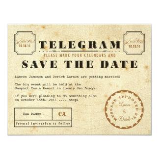 Het vintage Telegram bewaart de Datum 10,8x13,9 Uitnodiging Kaart