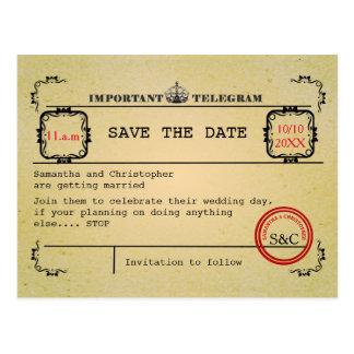 Het vintage telegramhuwelijk bewaart de datum briefkaart