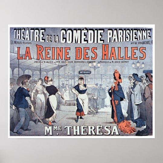 Het vintage Theater van La Reine des Halles Comedy Poster