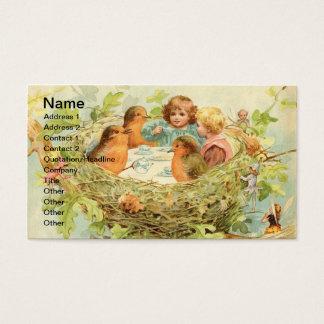Het vintage Theekransje van het Nest van de Vogel Visitekaartjes
