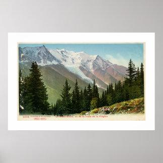 Het vintage uitzicht van Mont Blanc van de route Poster