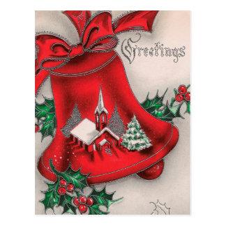 Het vintage van de de klokHulst van Kerstmis Briefkaart
