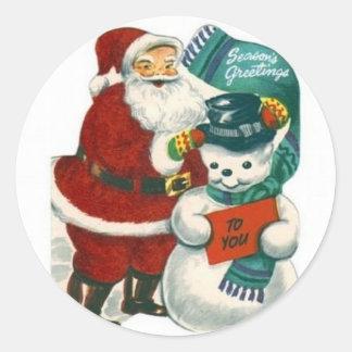 het vintage van de sneeuwmanKerstmis van de Ronde Sticker