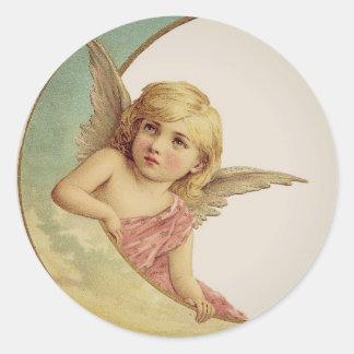 Het vintage Victoriaans Meisje van de Maan van de Ronde Sticker
