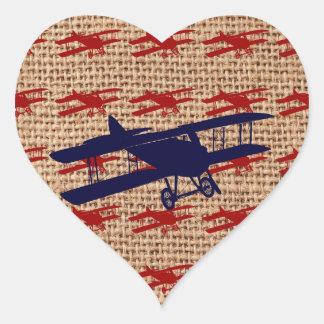 Het vintage Vliegtuig van de Propeller van de Hartvormige Sticker
