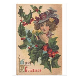 Het vintage Vrolijke Briefkaart van het Meisje van