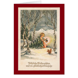 Het vintage Wenskaart van de Douane Weihnachts