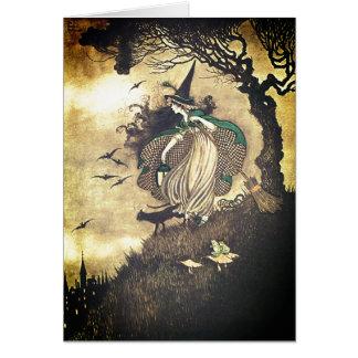 Het vintage Wenskaart van de Heks van Halloween