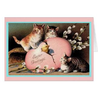 Het vintage Wenskaart van de Katjes van Pasen