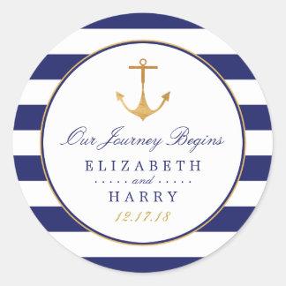 Het vintage Zeevaart Gouden Huwelijk van het Anker Ronde Sticker