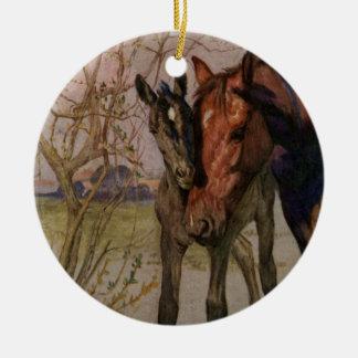 """Het vintage Zwarte paard van de Schoonheid """"Mijn Rond Keramisch Ornament"""