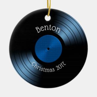 Het vinyl Album van het Verslag - Retro jaren '70 Rond Keramisch Ornament