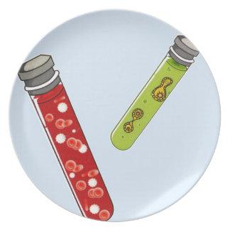 Het virus van twee reageerbuizenrode bloedcellen bord
