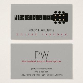 het visitekaartje van de gitaarleraar met visitekaartjes
