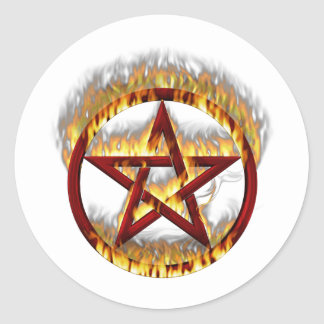 Het vlammen Pentagram Ronde Sticker