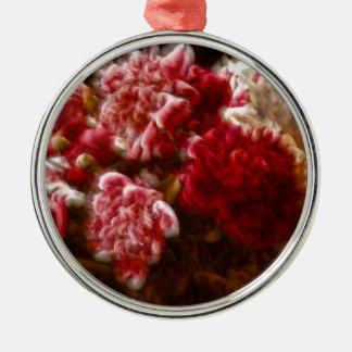 Het vlammende Rode Boeket van de Bloem van de Zilverkleurig Rond Ornament