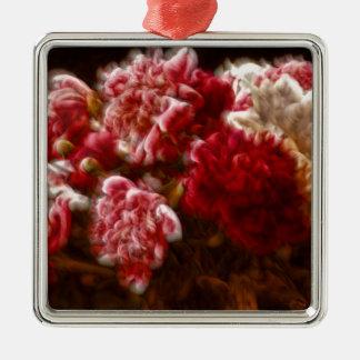 Het vlammende Rode Boeket van de Bloem van de Zilverkleurig Vierkant Ornament