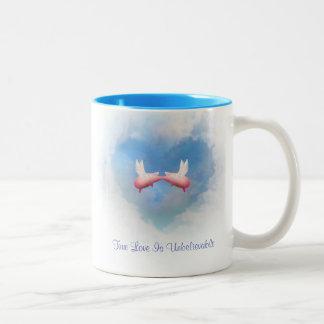 Het vliegen is de kus-Ware Liefde van Varkens Tweekleurige Koffiemok
