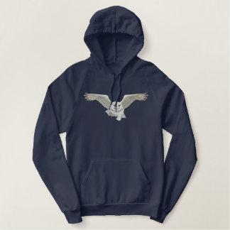 Het vliegende Borduurwerk van de Uil Geborduurde Sweater Hoodie