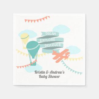 Het Vliegtuig en de Ballon van het Baby shower van Papieren Servetten