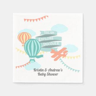 Het Vliegtuig en de Ballon van het Baby shower van Wegwerp Servetten