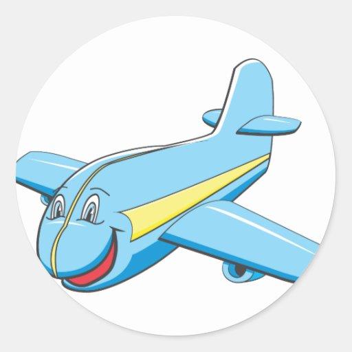 Het vliegtuig van de cartoon ronde sticker