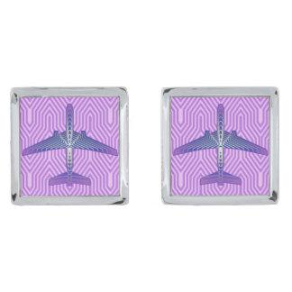 Het Vliegtuig van het art deco, Violette Paarse en Verzilverde Manchetknopen