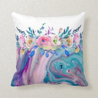 Het vloeibare Marmeren & Kleurrijke BloemenBoeket Sierkussen