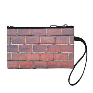 Het vlotte Rode Detail van de Bakstenen muur Kleingeld Portemonneetje