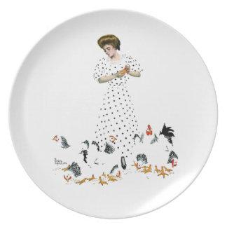 Het voeden van de Kippen Melamine+bord