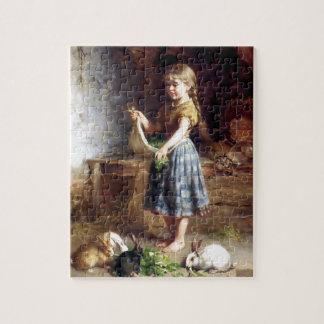 Het voeden van het meisje het schilderen van de Ko Legpuzzel