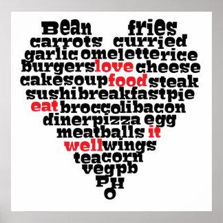 Het voedsel van de liefde, het hart van de Liefde Poster