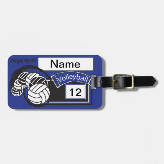 Het Volleyball | Donkerblauwe diy- Tekst van de Bagagelabel