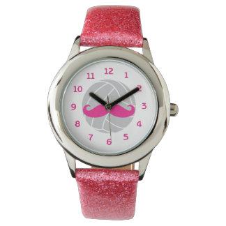 Het volleyball schittert het roze horloge van het