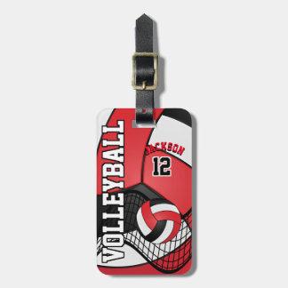 Het Volleyball van de sport | Rood, Wit en Zwarte Bagagelabel
